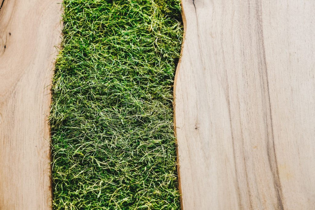 połączenie zieleni z drewmen